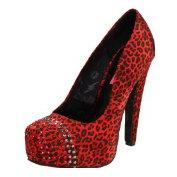 Betsey Johnson Women&#8217;s Red Cheetah Platform Pump
